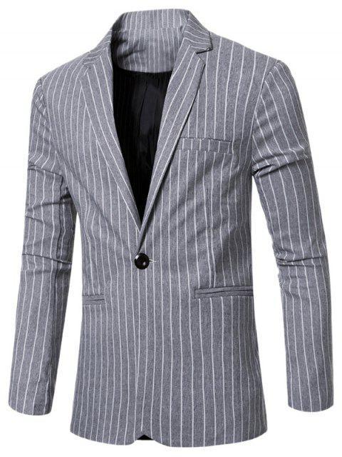 Rayó con muesca de cuello solapa solo botón adelgazan la chaqueta para los hombres - Gris Claro M Mobile