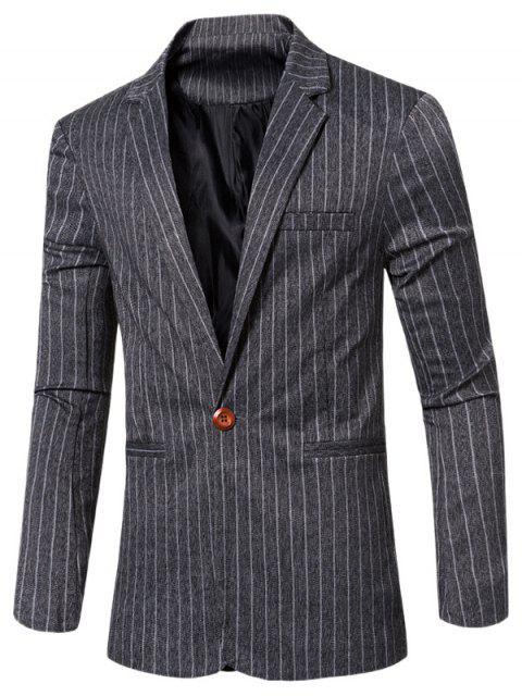 Rayó con muesca de cuello solapa solo botón adelgazan la chaqueta para los hombres - Negro M Mobile