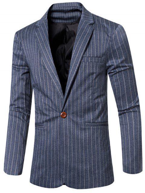 Rayó con muesca de cuello solapa solo botón adelgazan la chaqueta para los hombres - Azul M Mobile