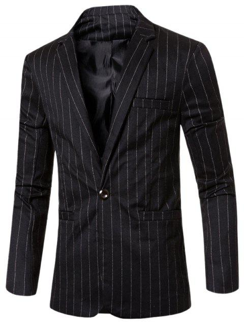 Estilo de rayas de cuello solapa con muescas solo botón adelgazan la chaqueta para los hombres - Negro M Mobile