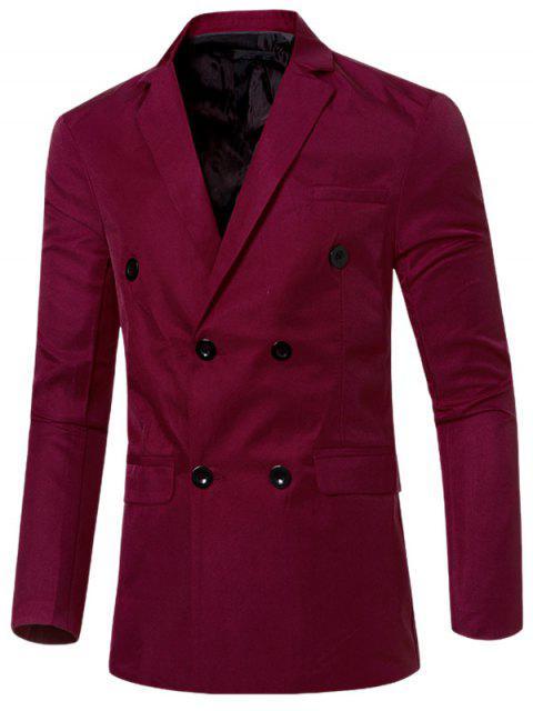 Blazer Casual Cruzado Doble Bosillo Solapa Hombre - Vino Rojo M Mobile