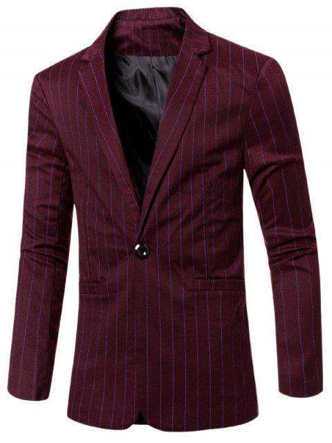 Estilo de rayas de cuello solapa con muescas solo botón adelgazan la chaqueta para los hombres - Rojo oscuro M Mobile