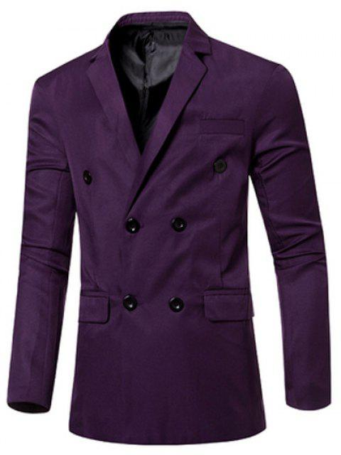 Blazer Casual Cruzado Doble Bosillo Solapa Hombre - Púrpura M Mobile