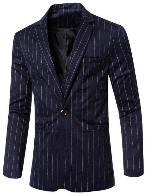 Estilo de rayas de cuello solapa con muescas solo botón adelgazan la chaqueta para los hombres - Azul Profundo M Mobile