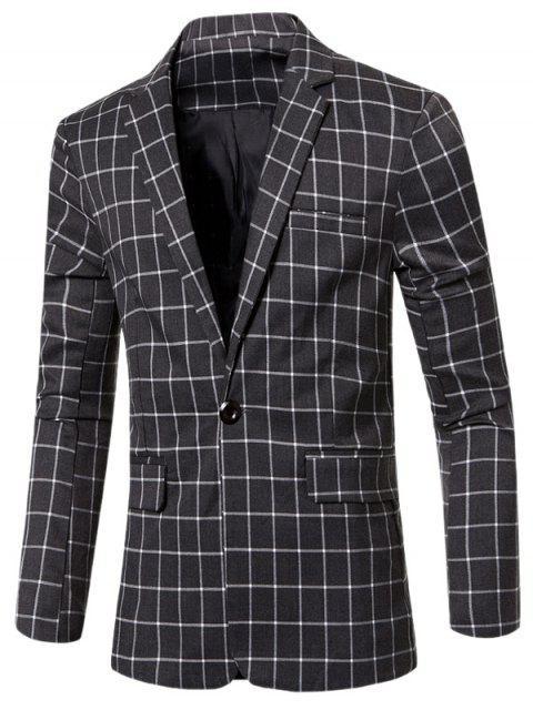 Casual con muesca de cuello solapa un solo botón A cuadros chaqueta para los hombres - Gris M Mobile