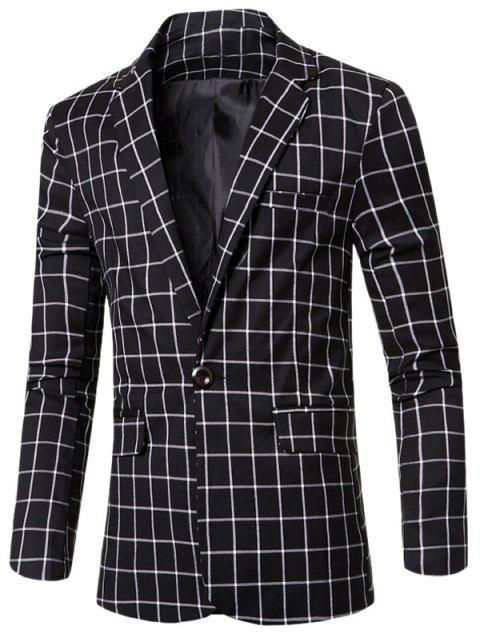 Casual con muesca de cuello solapa un solo botón A cuadros chaqueta para los hombres - Negro 3XL Mobile