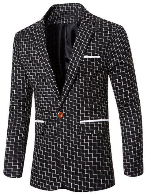 Collar de la solapa elegante impresión de la raya del remiendo solo botón Blazer para los hombres - Negro L Mobile