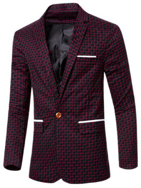 Collar de la solapa elegante impresión de la raya del remiendo solo botón Blazer para los hombres - Rojo M Mobile