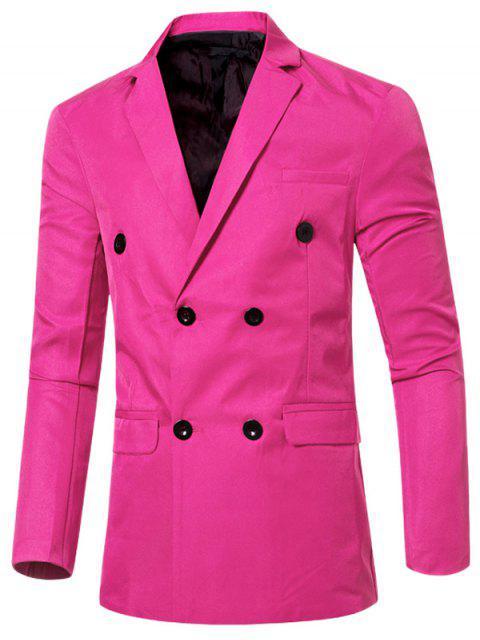 Blazer Casual Cruzado Doble Bosillo Solapa Hombre - Rosa M Mobile