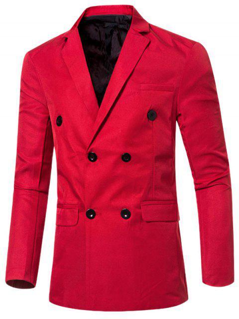 Blazer Casual Cruzado Doble Bosillo Solapa Hombre - Rojo L Mobile