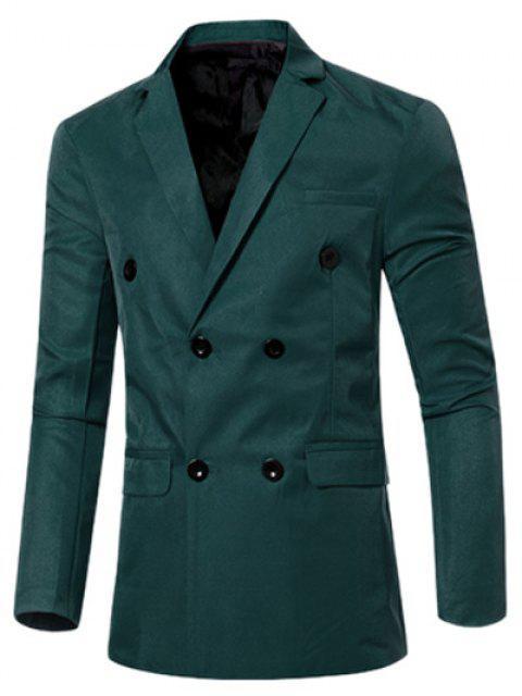 Blazer Casual Cruzado Doble Bosillo Solapa Hombre - Verde negruzco 2XL Mobile
