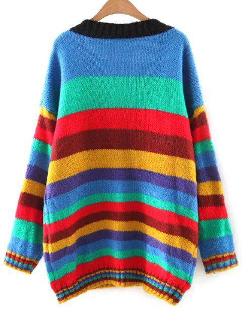 hot Striped V Neck Color Block Sweater - COLORMIX M Mobile