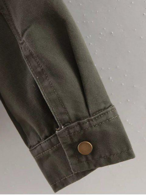 outfit Letter Print Epaulet Shirt Neck Pockets Jacket - ARMY GREEN M Mobile