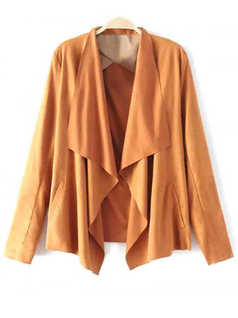 new Solid Color Lapel Collar Faux Suede Coat - EARTHY XL Mobile