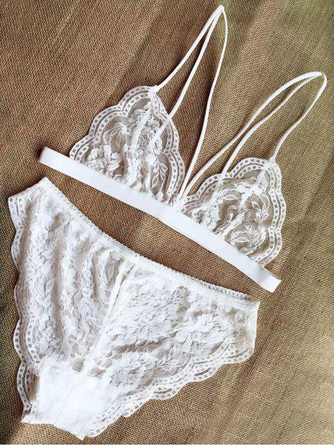 hot Solid Color Strappy Lace Bra and Briefs Lingeries Suit - WHITE L Mobile