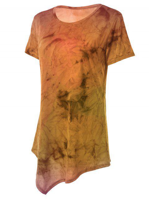ladies Tie Dye Hankerchief Hem T-Shirt - ORANGE M Mobile