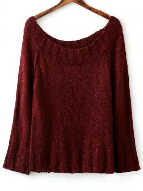 ladies Solid Color Scoop Neck Long Sleeve Sweater - WINE RED ONE SIZE Mobile