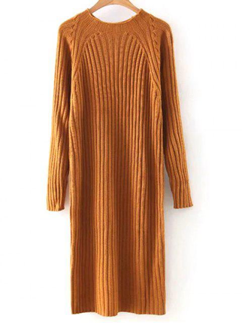 Solide Rond Couleur Neck Sweater Dress - Orange M Mobile