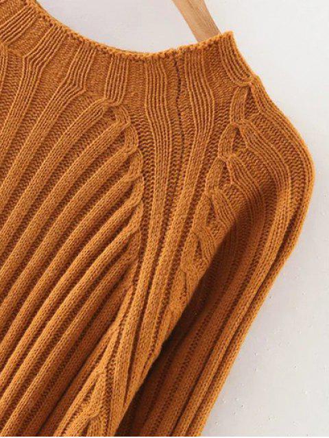 Solide Rond Couleur Neck Sweater Dress - Orange M Mobile