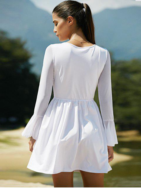 sale Mesh Spliced Scoop Neck Flare Sleeve Dress - WHITE L Mobile