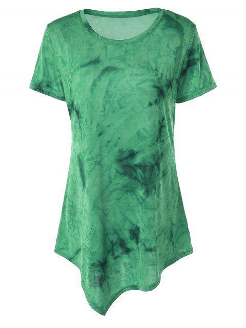 outfits Tie Dye Hankerchief Hem T-Shirt - GREEN S Mobile