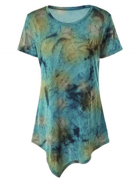 trendy Tie Dye Hankerchief Hem T-Shirt - BLUISH YELLOW S Mobile