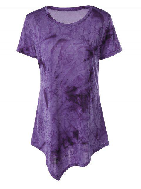 hot Tie Dye Hankerchief Hem T-Shirt - PURPLE S Mobile