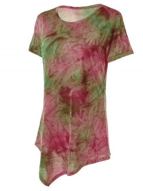 latest Tie Dye Hankerchief Hem T-Shirt - RED AND GREEN S Mobile