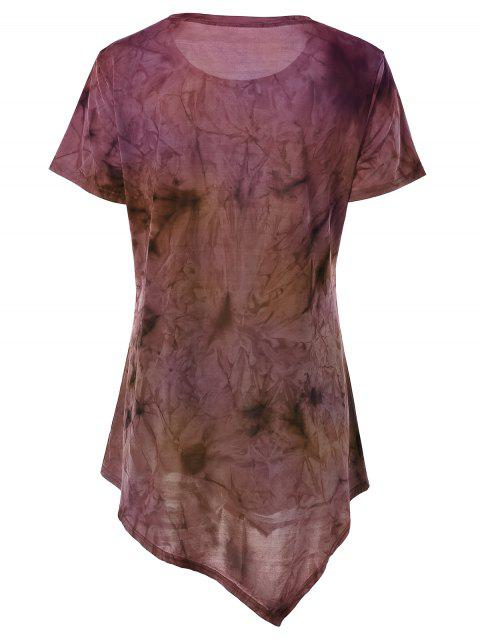 fancy Tie Dye Hankerchief Hem T-Shirt - YELLOW + PURPLE S Mobile