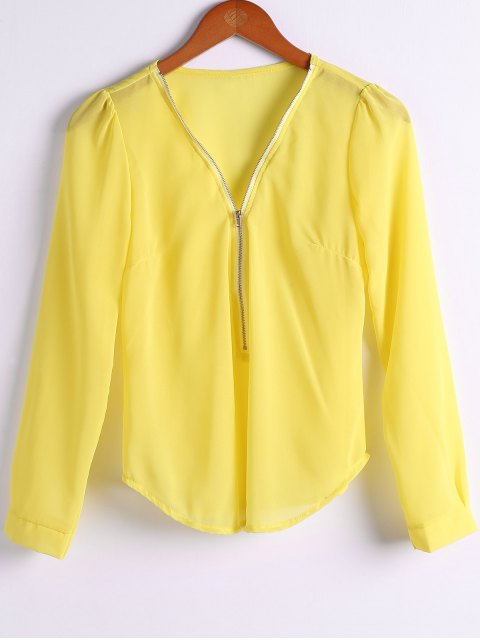 affordable Solid Color Plunging Neck Zipper Blouse - YELLOW M Mobile