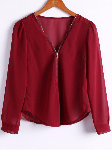 Solide Couleur Plongeant Neck Zipper Blouse - Rouge vineux  M Mobile