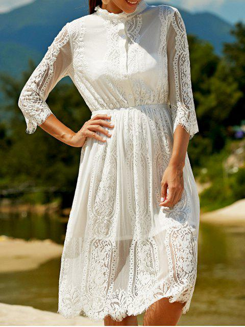 best Solid Color Stand Neck Drawstring Lace Dress - WHITE S Mobile