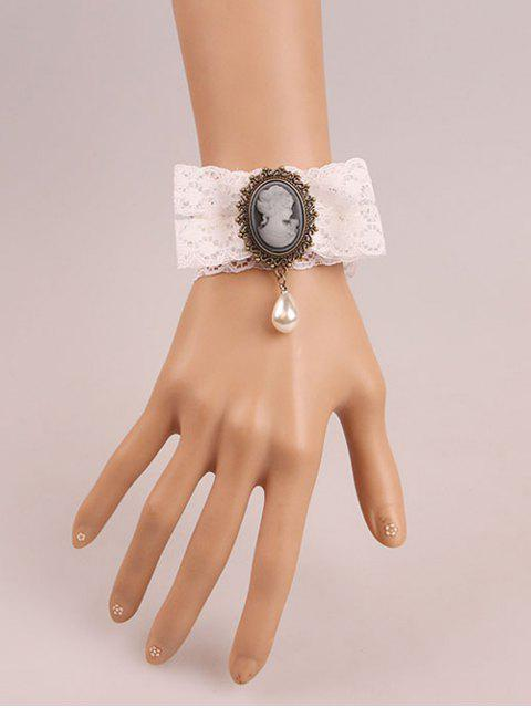 womens Lace Faux Pearl Cameo Bracelet -   Mobile