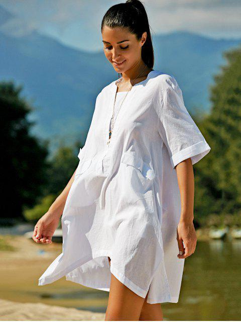 unique Plus Size Half Sleeve Side Slit T-Shirt Dress - WHITE XL Mobile