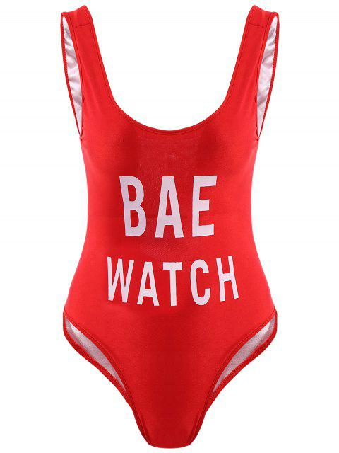 women Letter Print One-Piece Swimwear - RED S Mobile