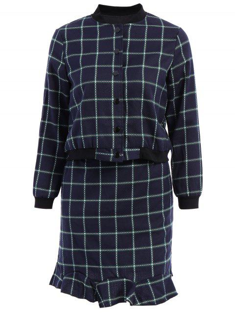 ladies Stand-Up Collar Plaid Long Sleeve Coat + Skirt -   Mobile