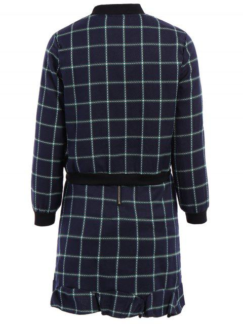 ladies Stand-Up Collar Plaid Long Sleeve Coat + Skirt - CADETBLUE M Mobile