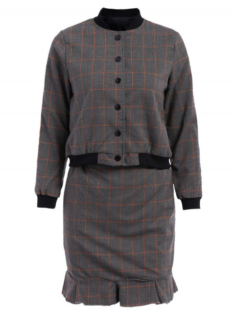 unique Stand-Up Collar Plaid Long Sleeve Coat + Skirt -   Mobile