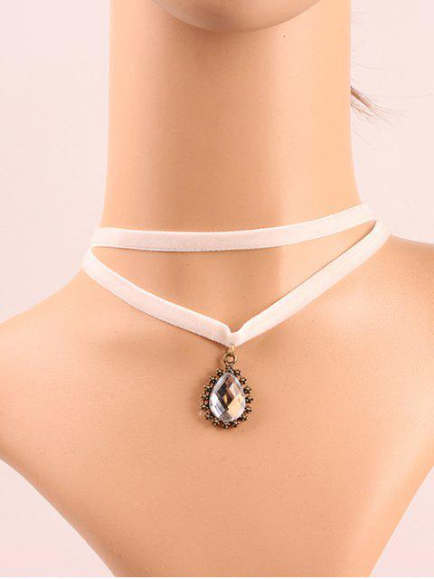 chic Faux Crystal Layered Choker - WHITE  Mobile