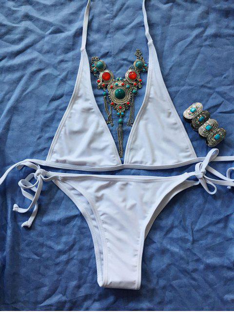 Tie Side Unlined Bikini - Blanc L Mobile