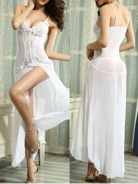 outfits Lace Splice Cami High Slit Maxi Dress - WHITE M Mobile