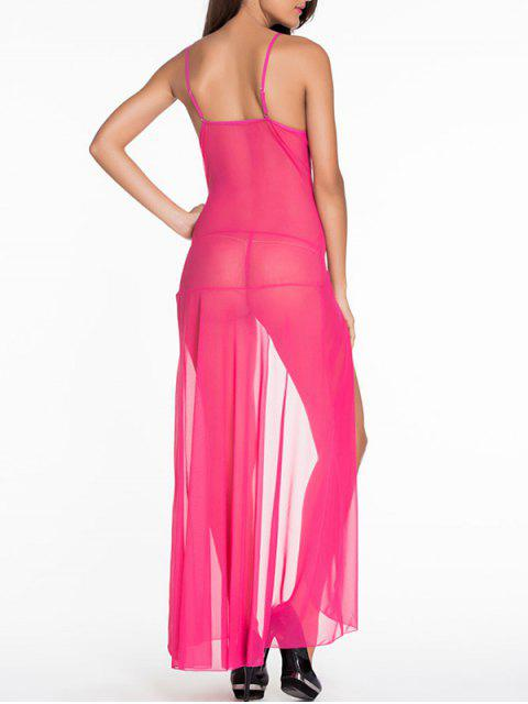shop Lace Splice Cami High Slit Maxi Dress - ROSE RED XL Mobile