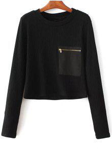 Solid Color Round Neck Pocket Patchwork Sweater - Black S