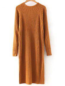 الصلبة جولة اللون الرقبة سترة اللباس - البرتقالي M