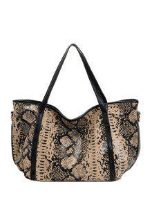 بيثون طباعة حقيبة الكتف - اللون البيج
