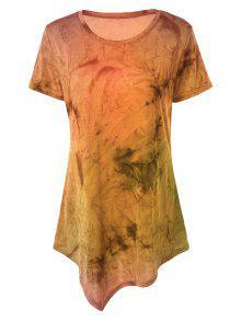 Tie Dye Hankerchief Hem T-Shirt - Orange S