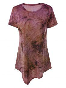 Tie Dye Hankerchief Hem T-Shirt - Yellow + Purple L