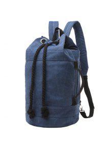 حقيبة الظهر بقماش كتاني تصميم مشد للرجال - ازرق غامق