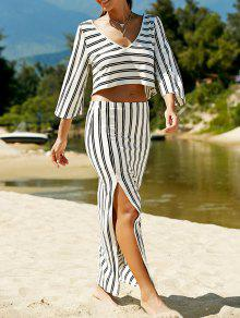 Striped V-Neck T-Shirt And High Slit Skirt Twinset - White 2xl