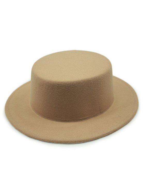 ladies Flat Top Felt Fedora Hat - KHAKI